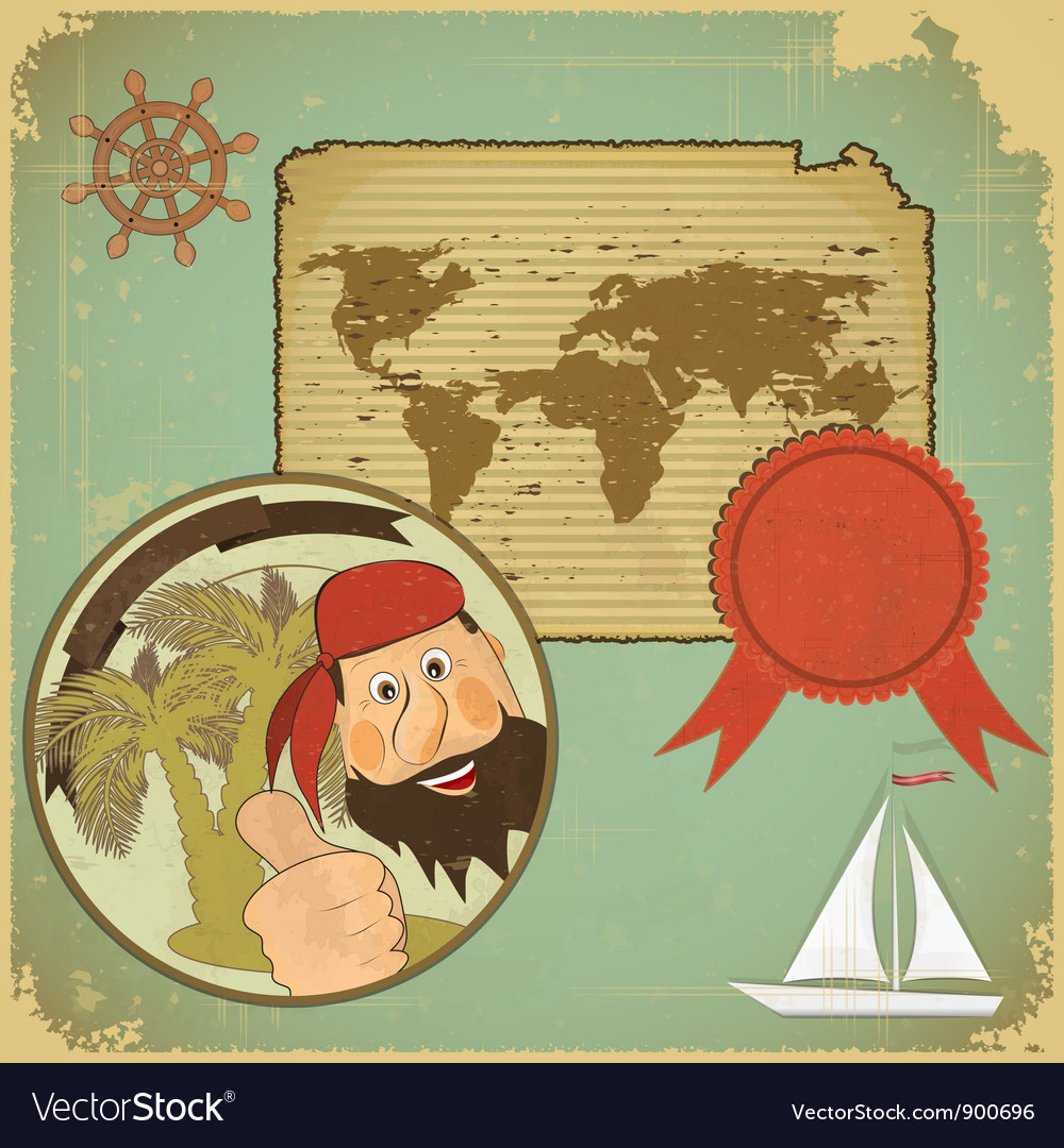 Pirate and world map vector