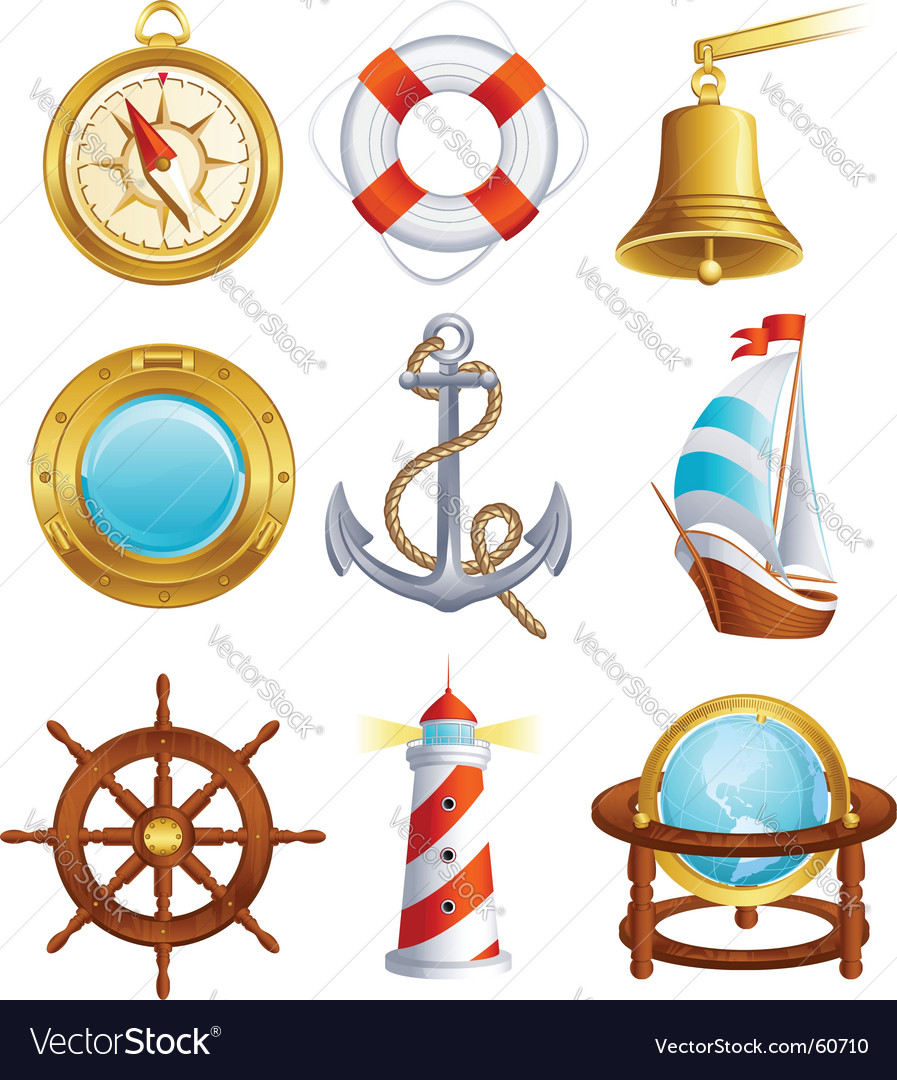 Sailing icons vector