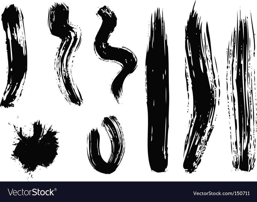 Set of black brushes vector