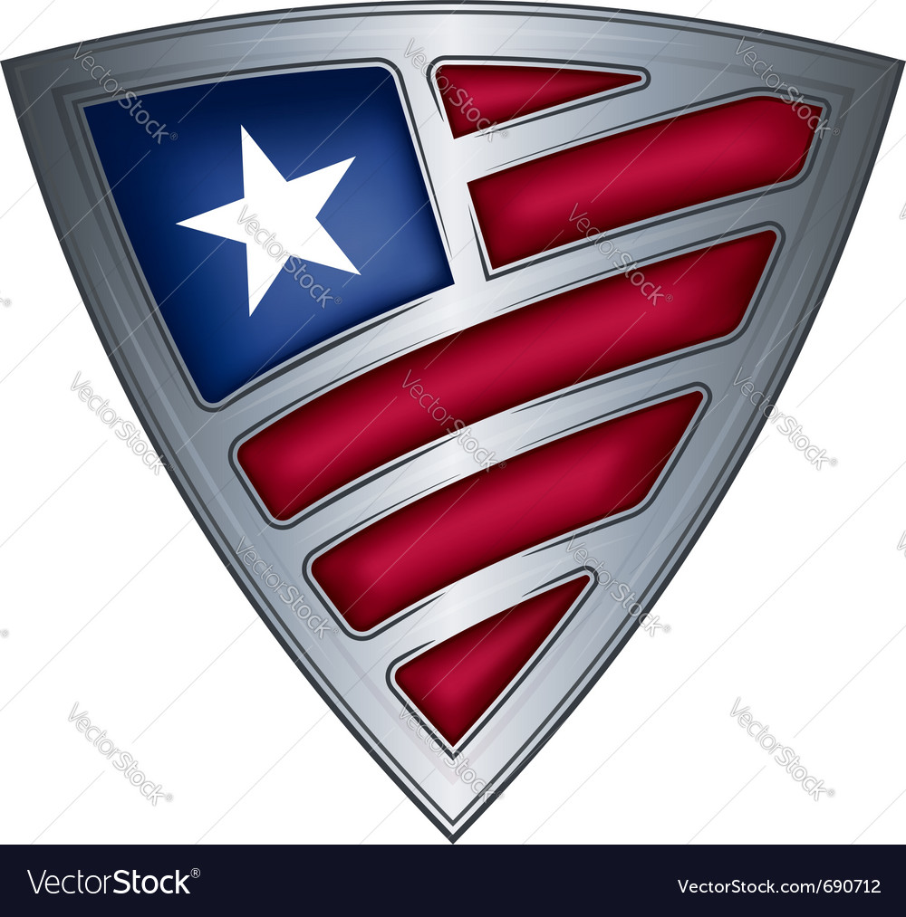 Steel shield with flag liberia vector