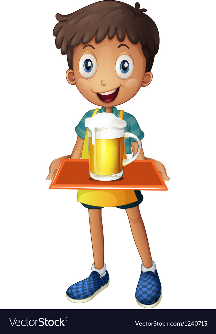 A young boy holding a tray with a mug of beer vector
