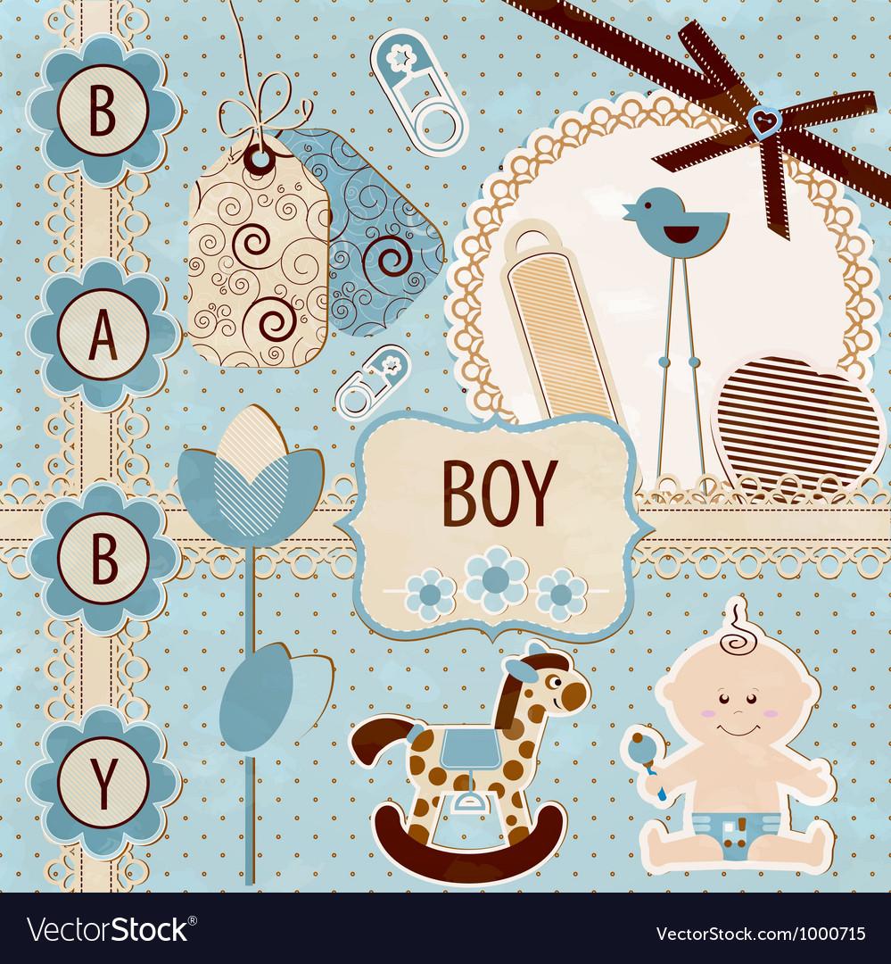 Scrapbook baby boy set vector