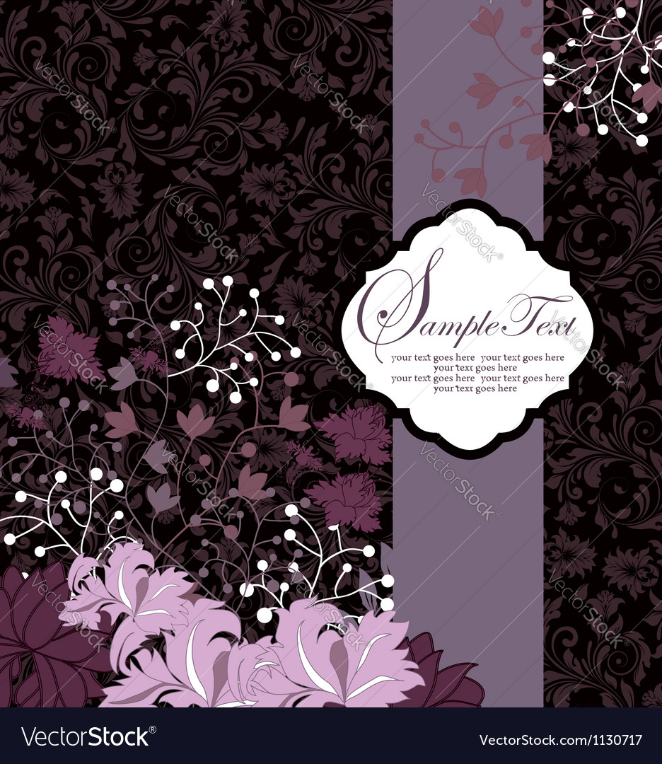 Purple floral card template vector