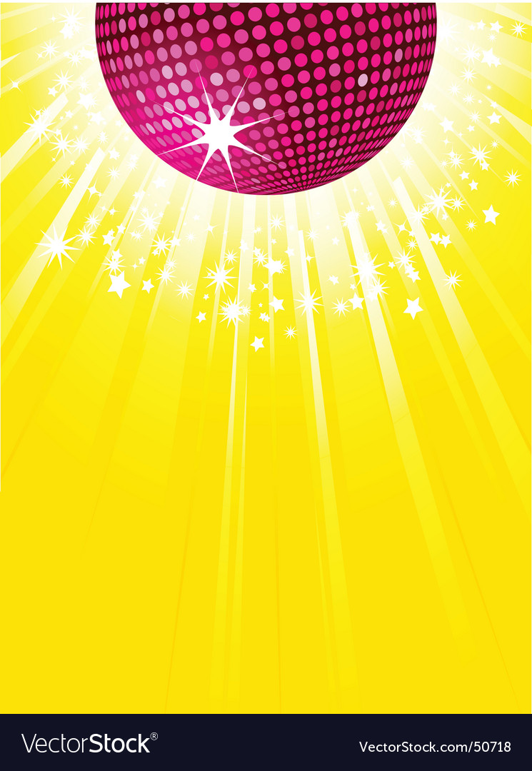 Pink disco ball party background vector