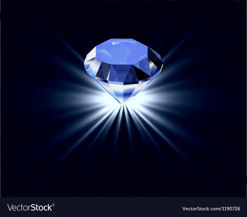 Blue diamond with reflection bright background vector