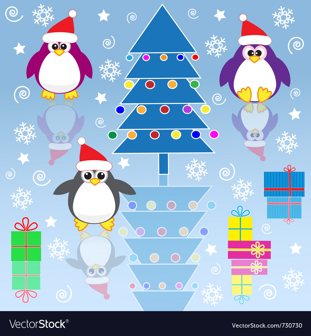 Xmas penguins vector