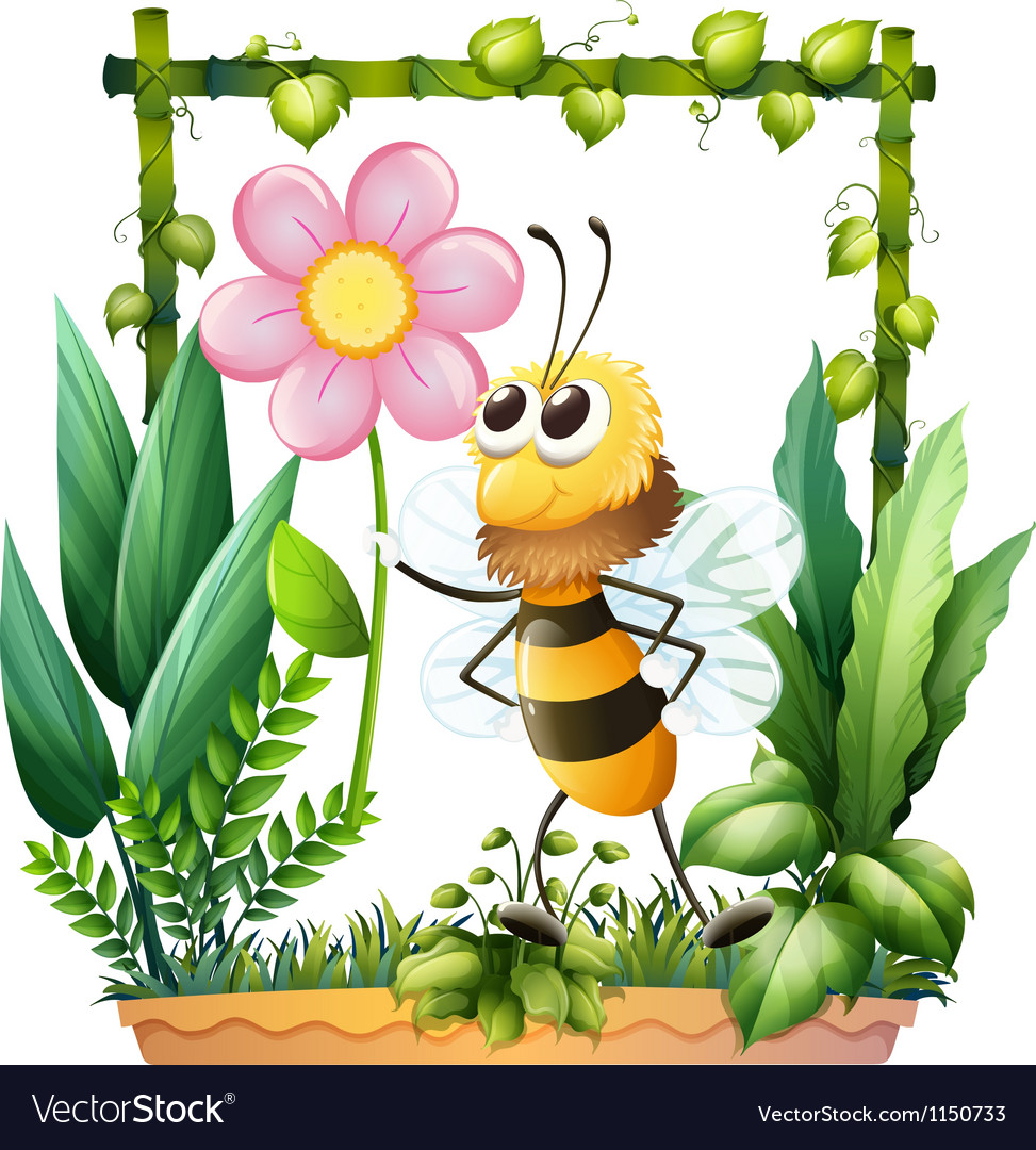 A bee holding a pink flower vector