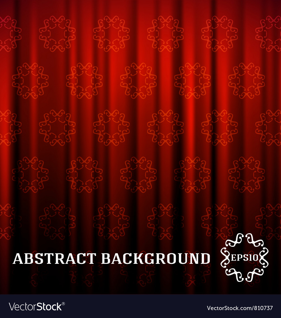 Red curtain with decor vector