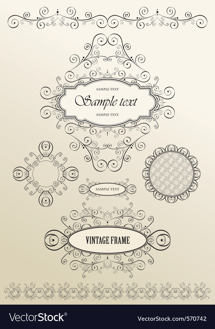 Ornate vintage frames vector