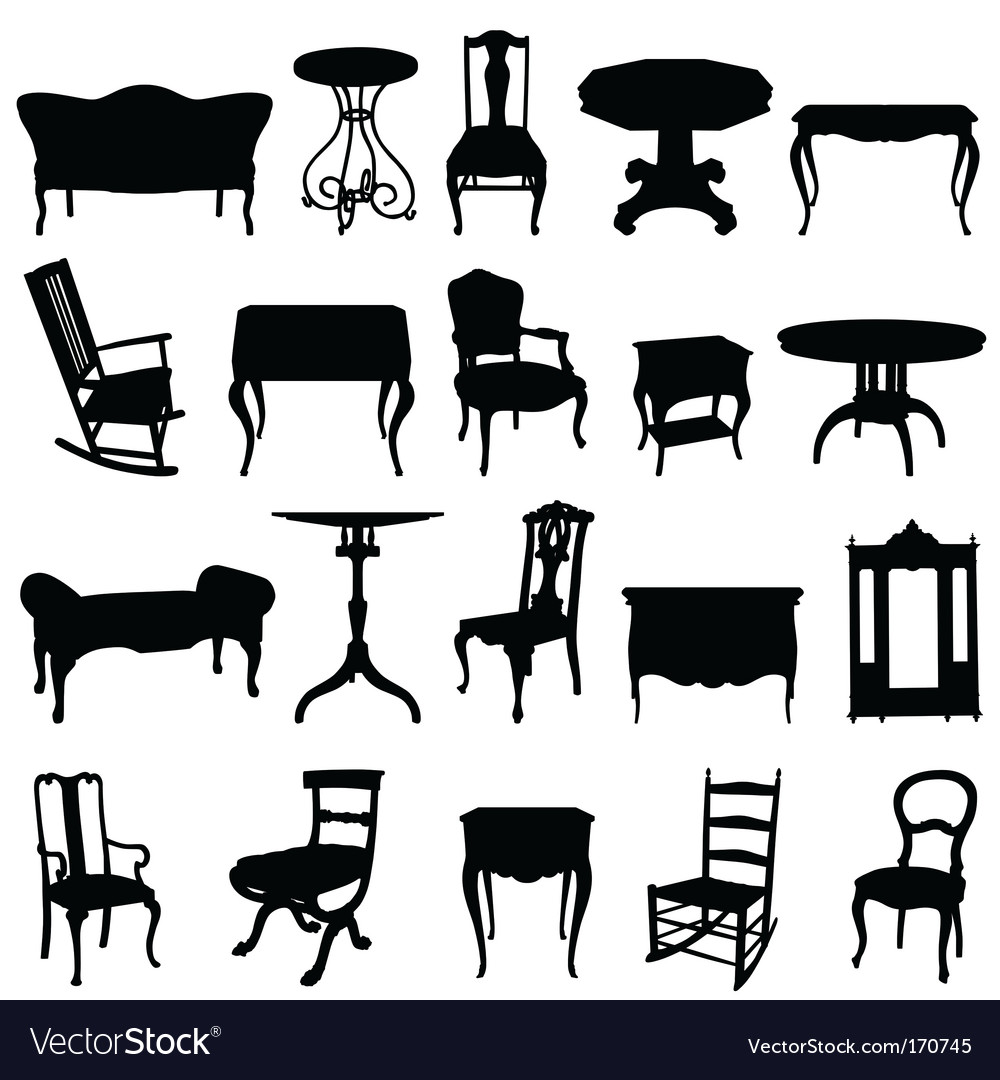 Antique furniture's set vector