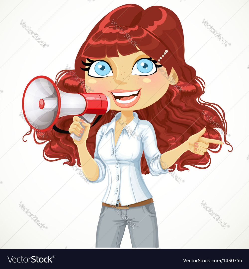 Cute girl talking into a megaphone vector