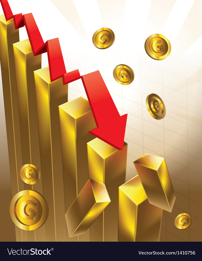 Gold price chart falling vector