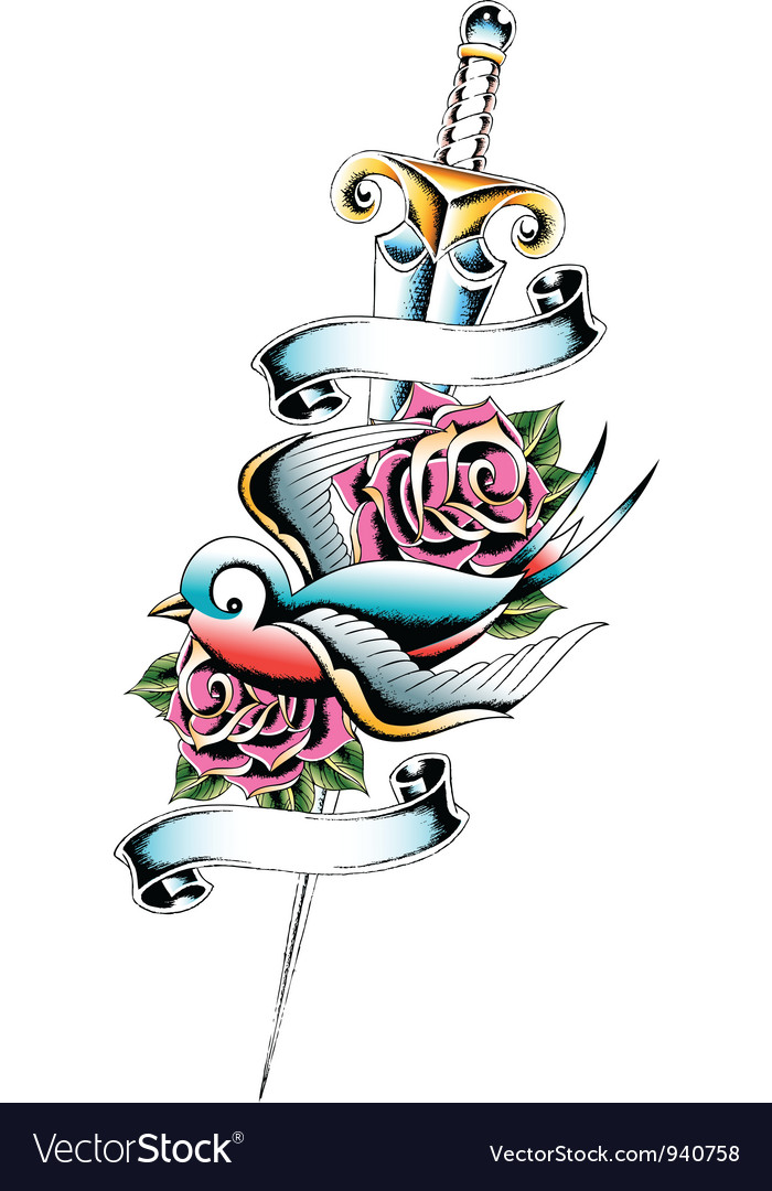 Swallow sword rose tattoo vector