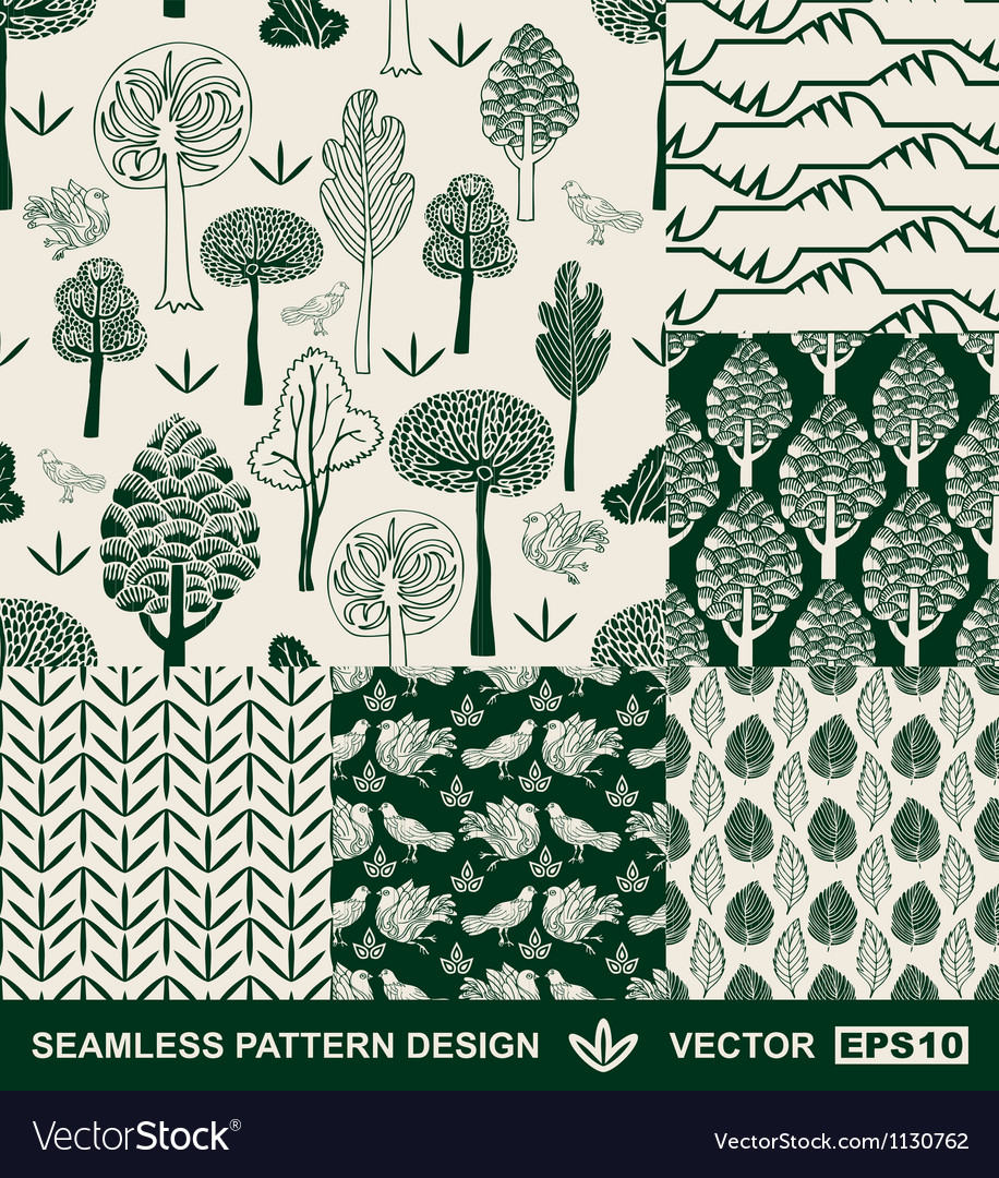 Retro backgrounds with birds trees leafs flower vector