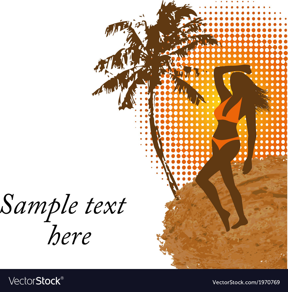Woman in a bathing suit on the beach vector