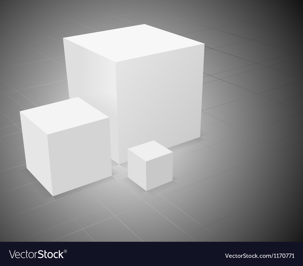 3d abstract background three white cube vector