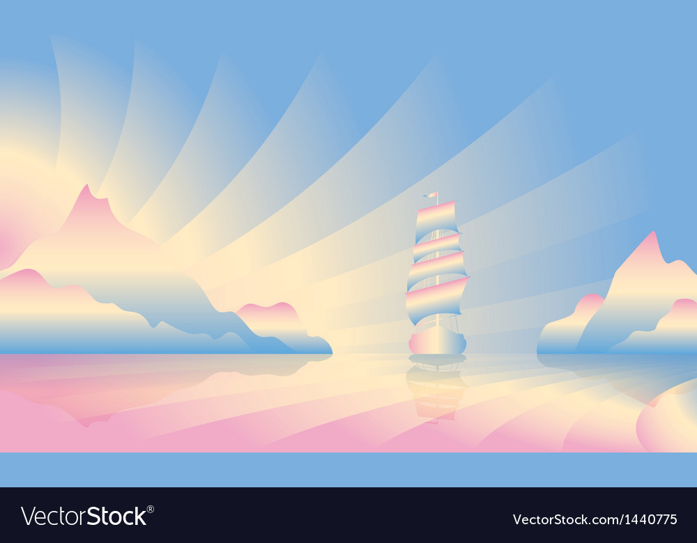 Sailing ship on skyline vector