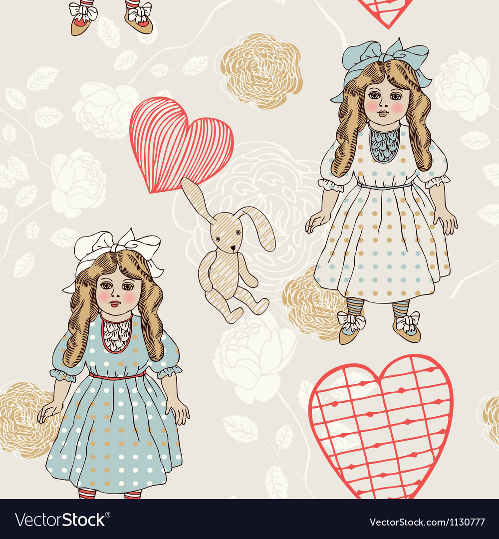 Vintage backgrounds with vintage toys vector