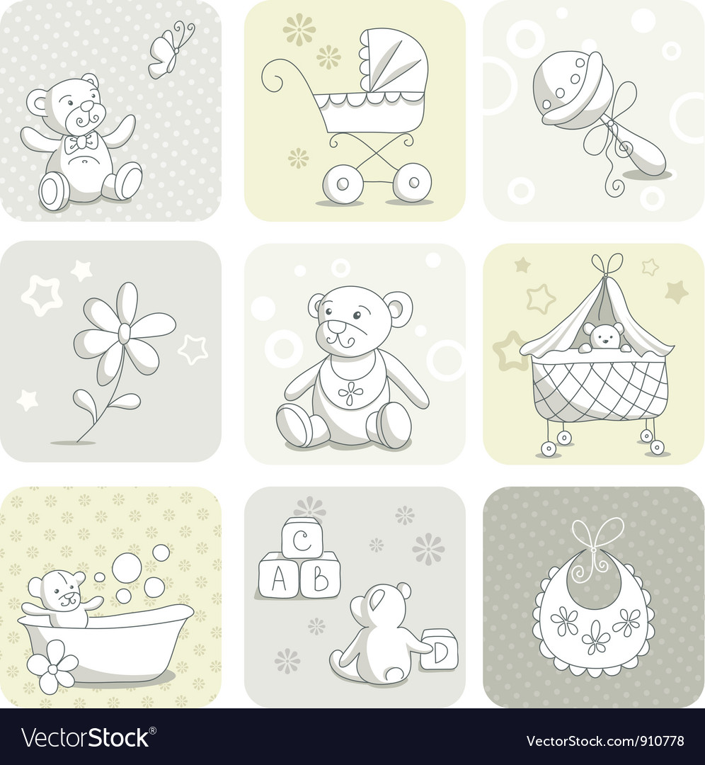 Baby card set vector