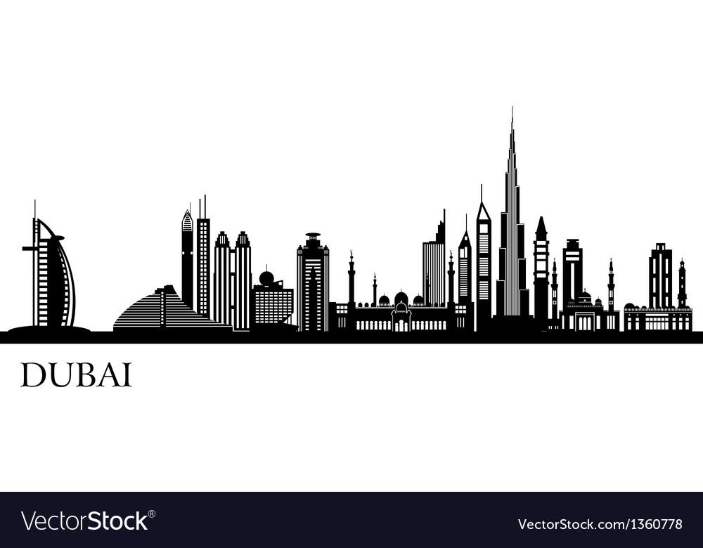 Dubai city skyline detailed silhouette vector