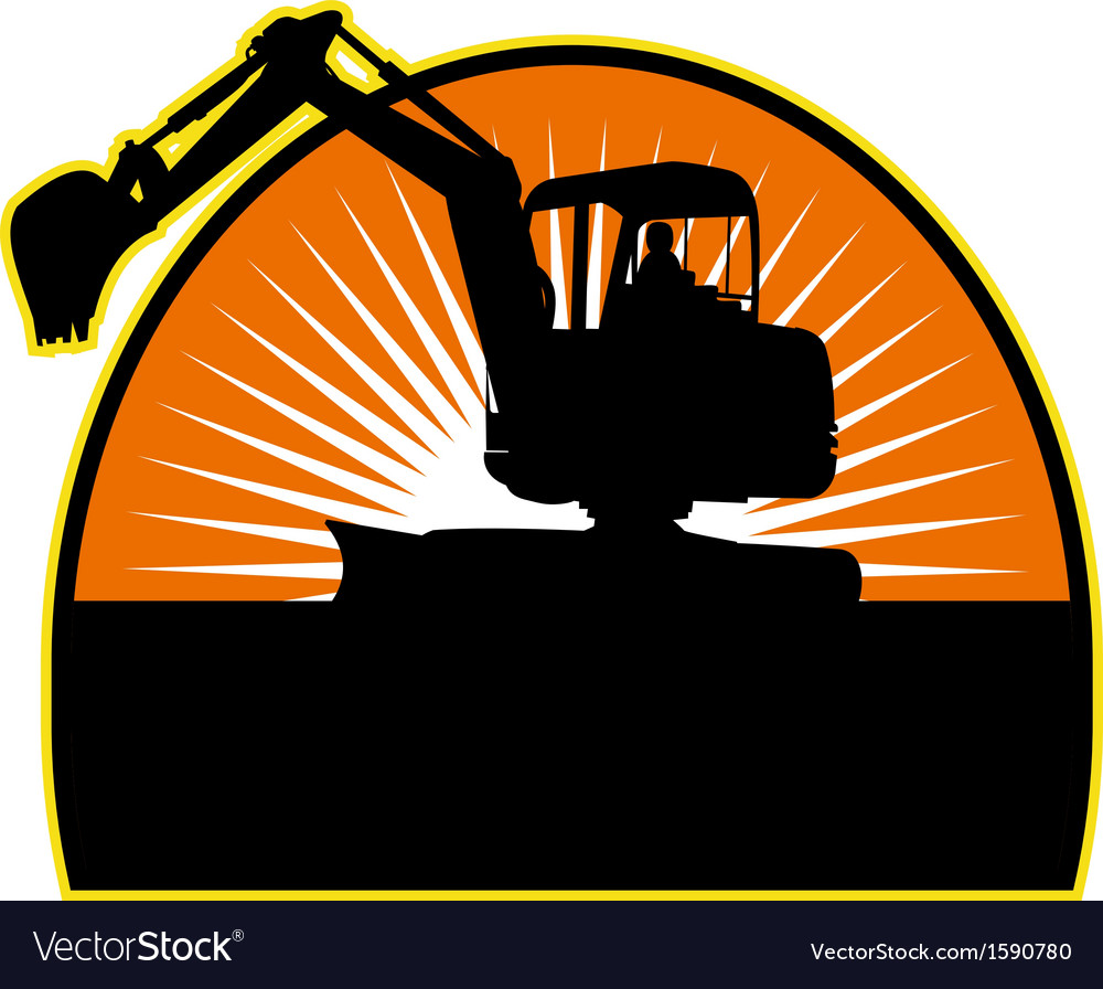 Mechanical digger with sunburs vector