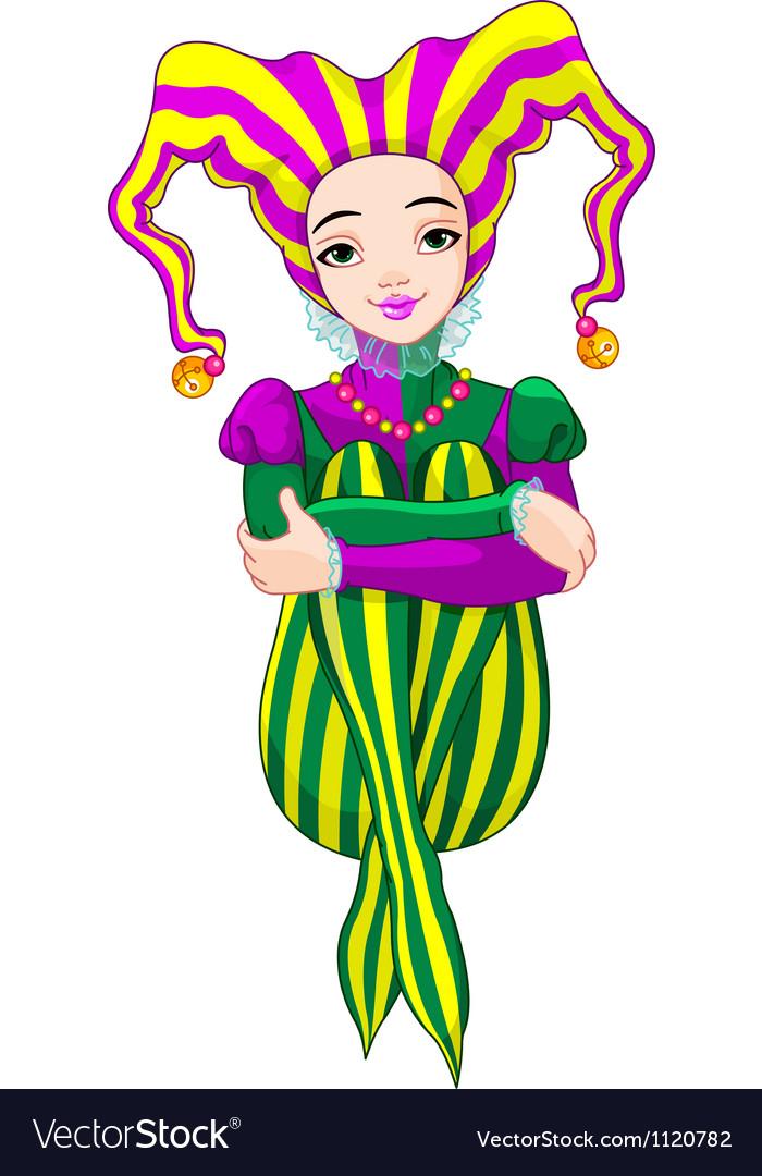 Mardi gras harlequin lady vector