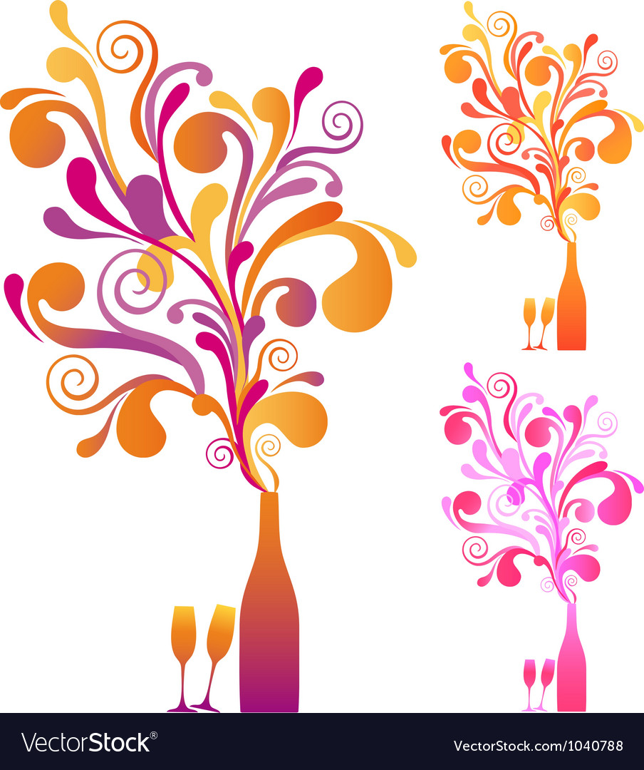 Champagne bottle with ornaments vector