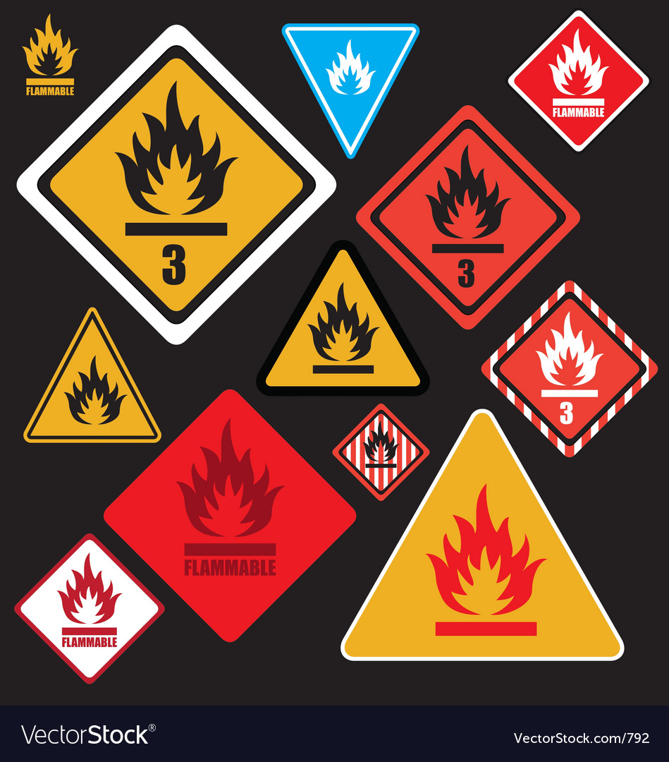 Free flammable signs vector