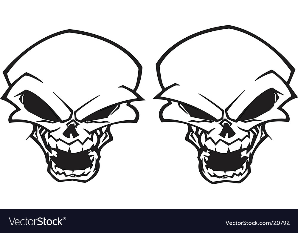 Twin skull tattoo vector