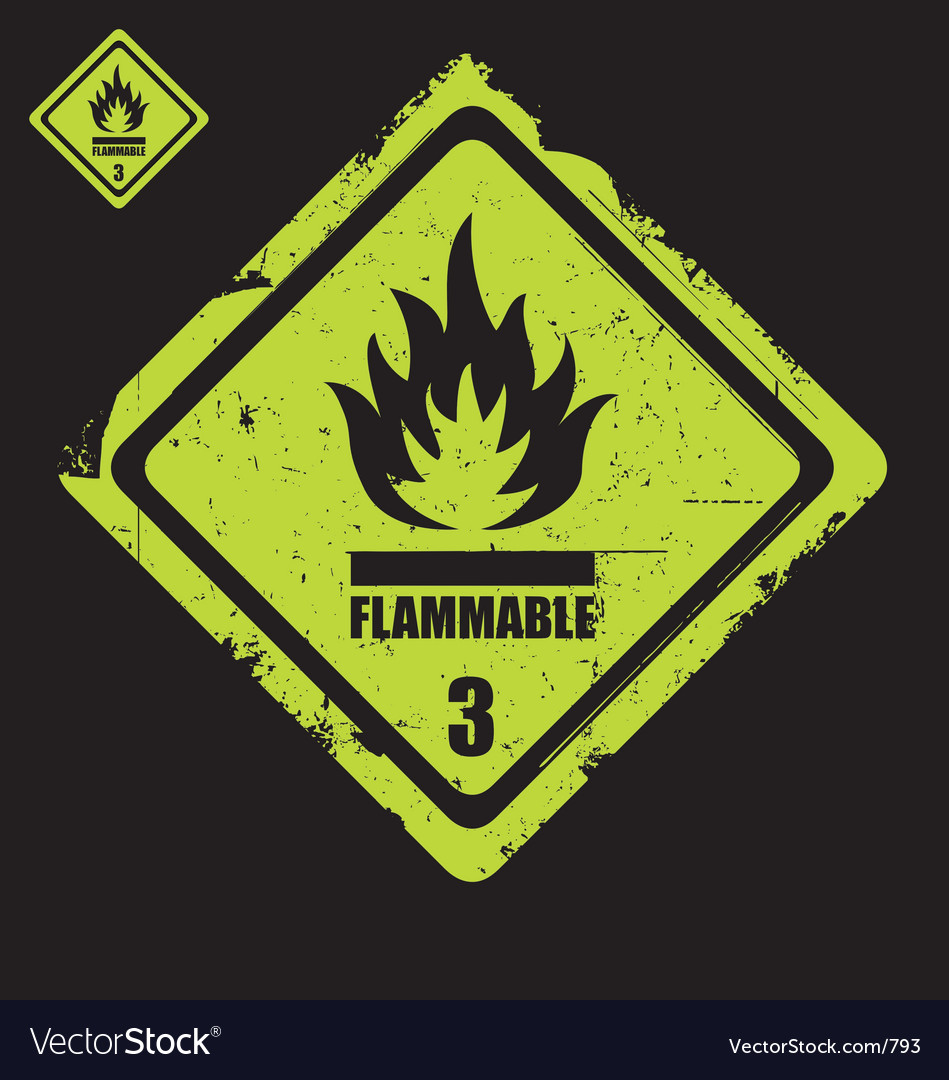 Free flammable sign grunge vector