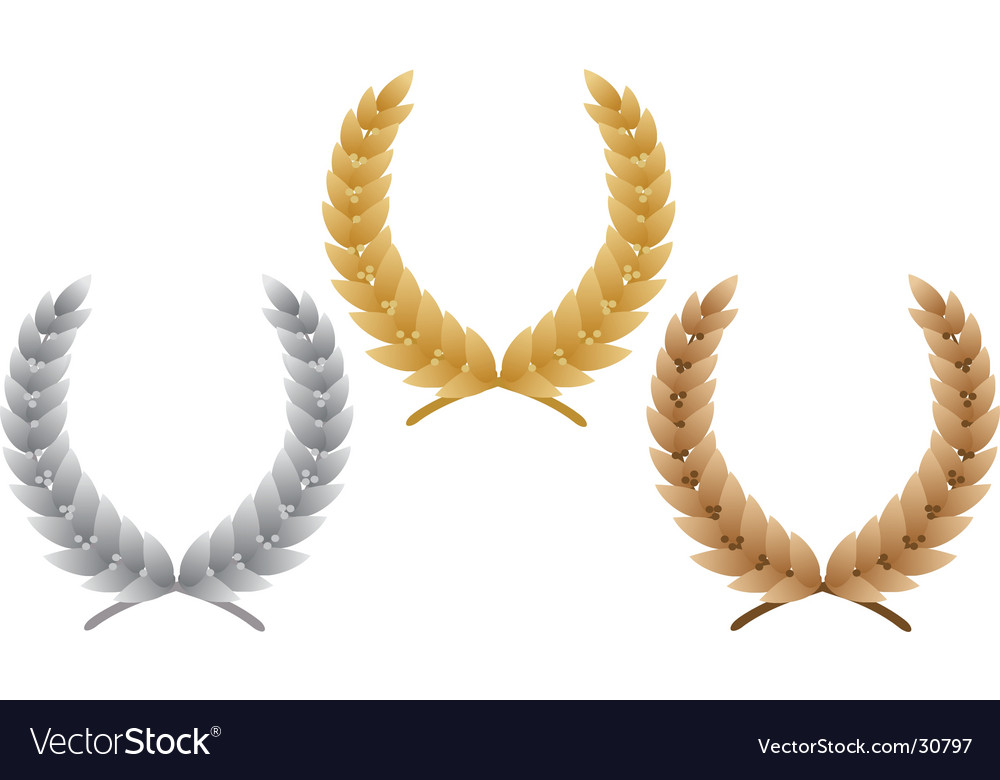 Three laurel wreath vector