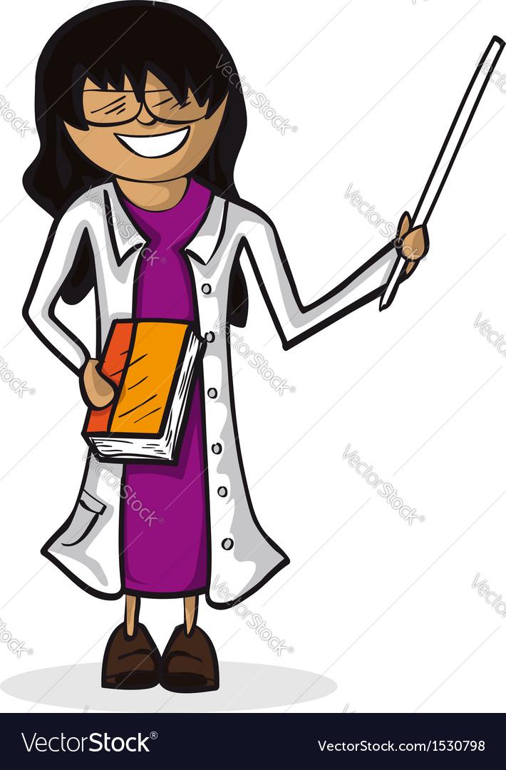 Professional teacher woman cartoon figure vector
