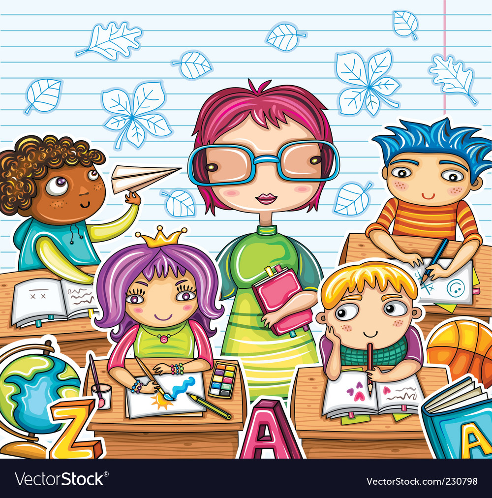 Teacher and children vector