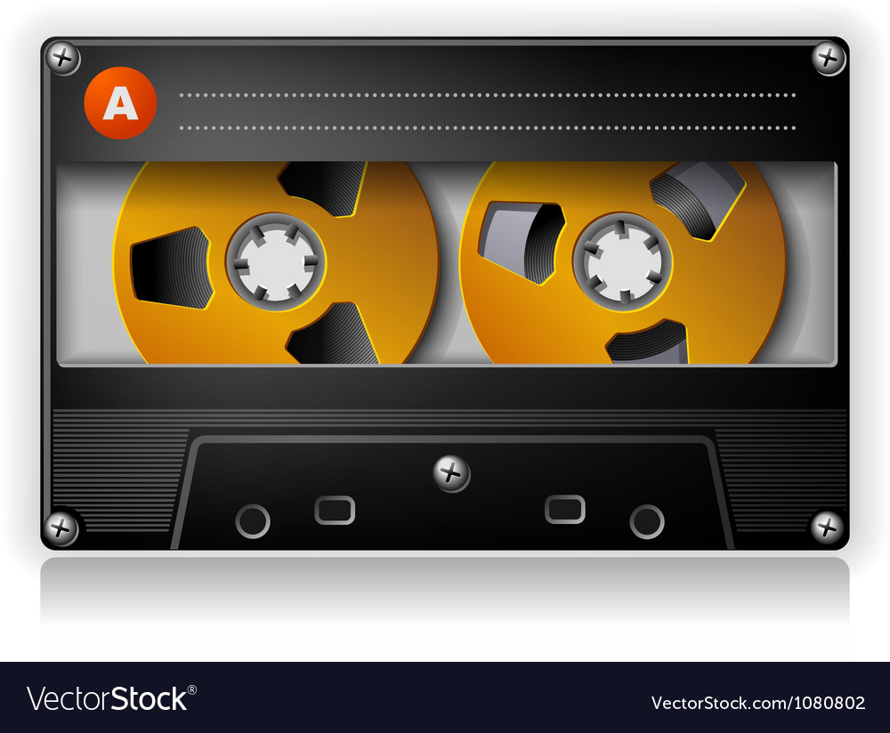Analog music stereo audio compact cassette vector