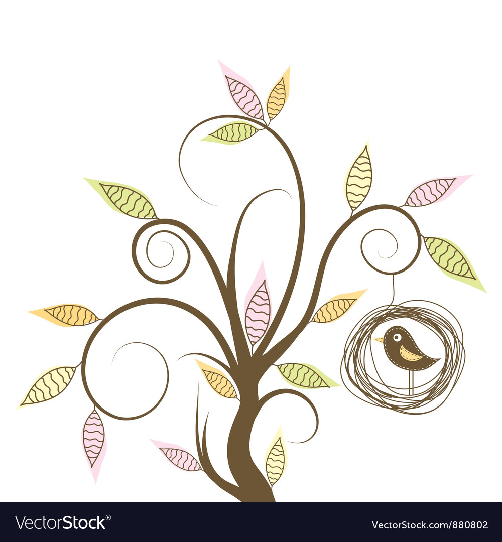 Decorative tree and bird vector