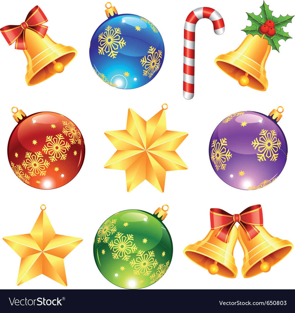 Christmas Ornaments Vector Art Bright christmas decorations