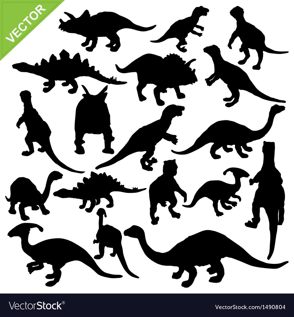 Dinosaur silhouette vector art - Download Silhouette vectors - 1490804