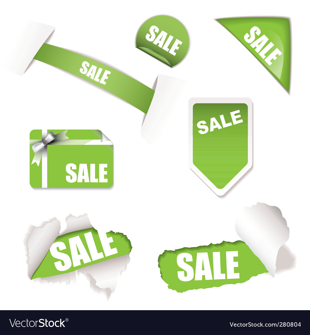 Shop sale elements green vector