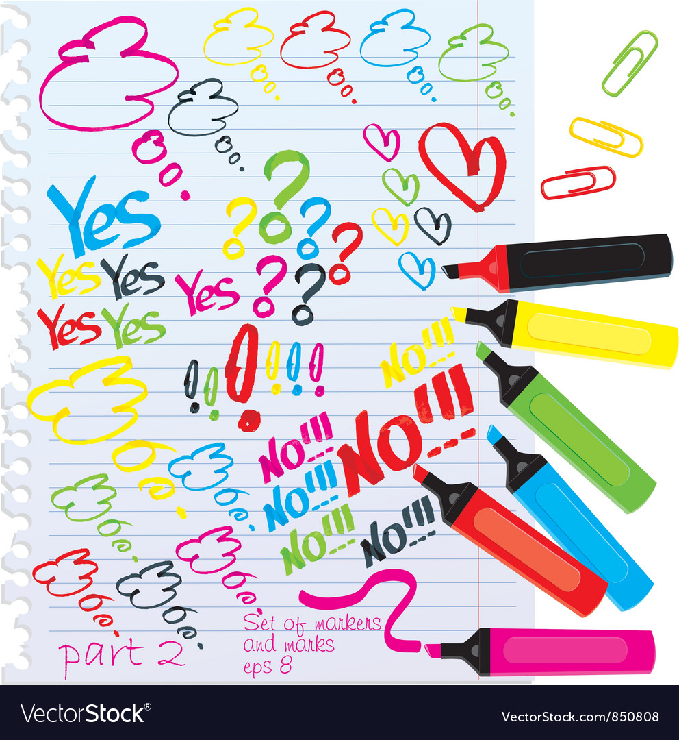 Set of different colors markers vector