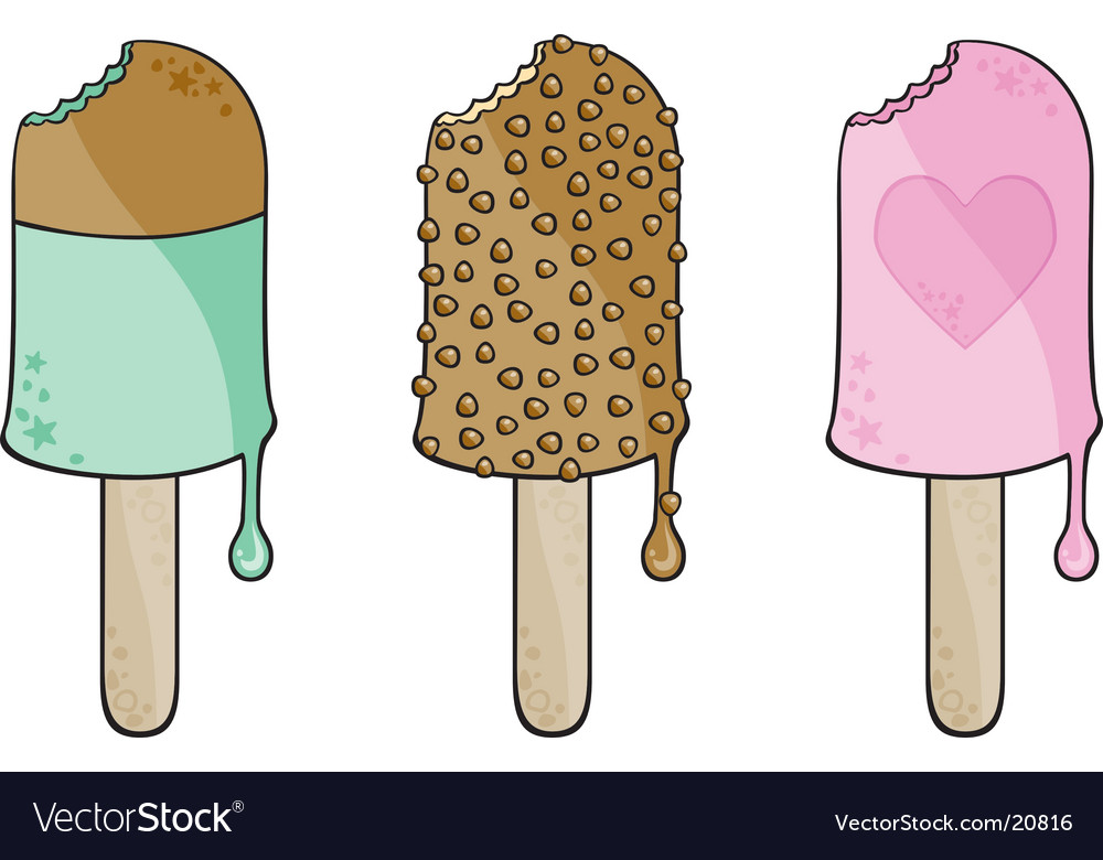 Three different ice cream vector