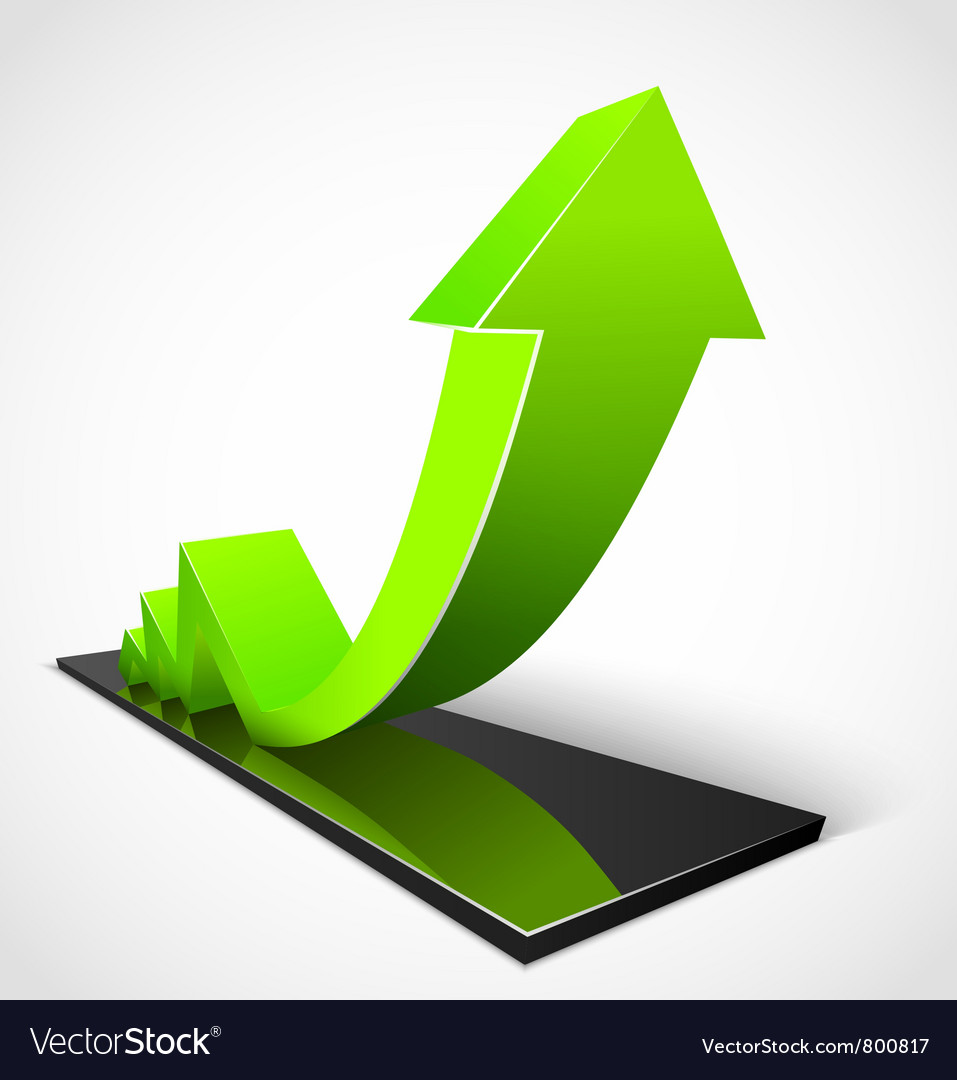 Green arrow business graphs vector