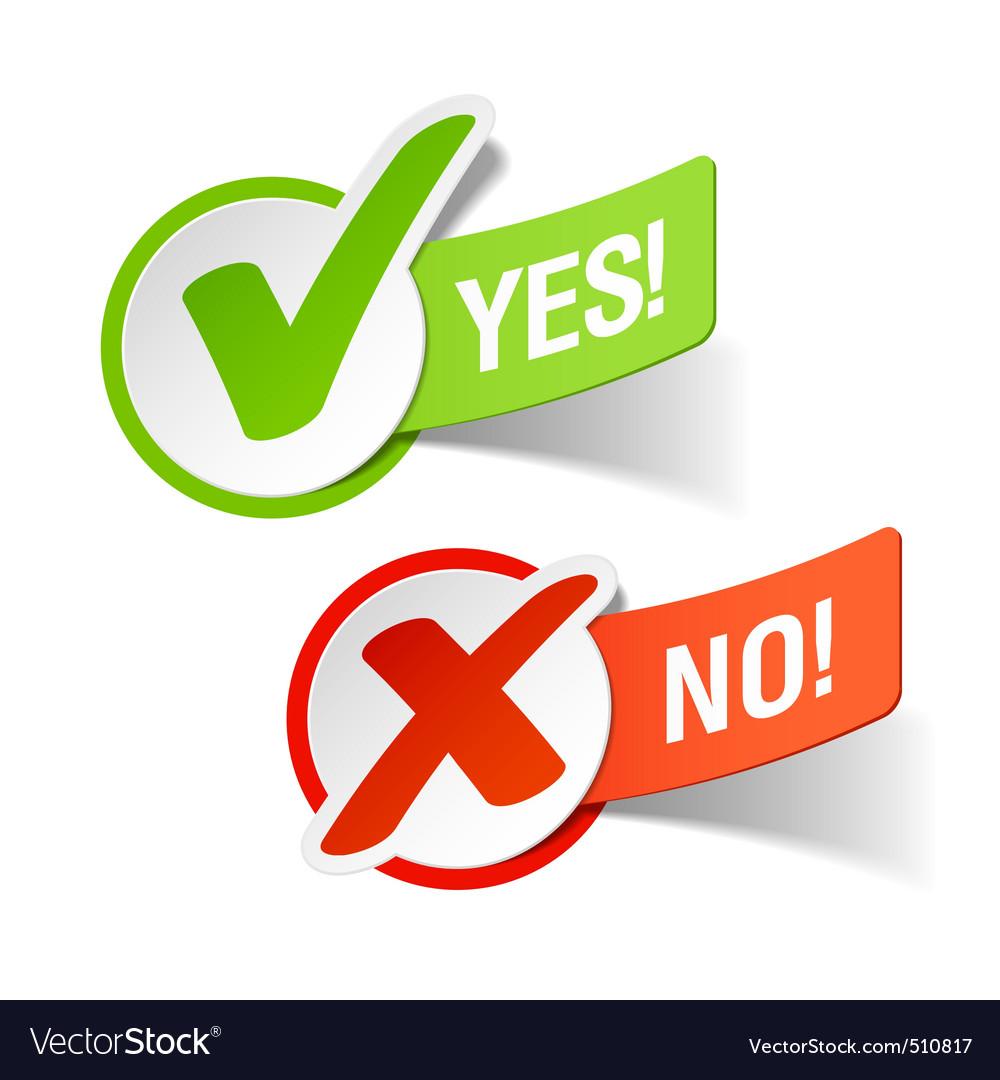 Yes and no check marks vector