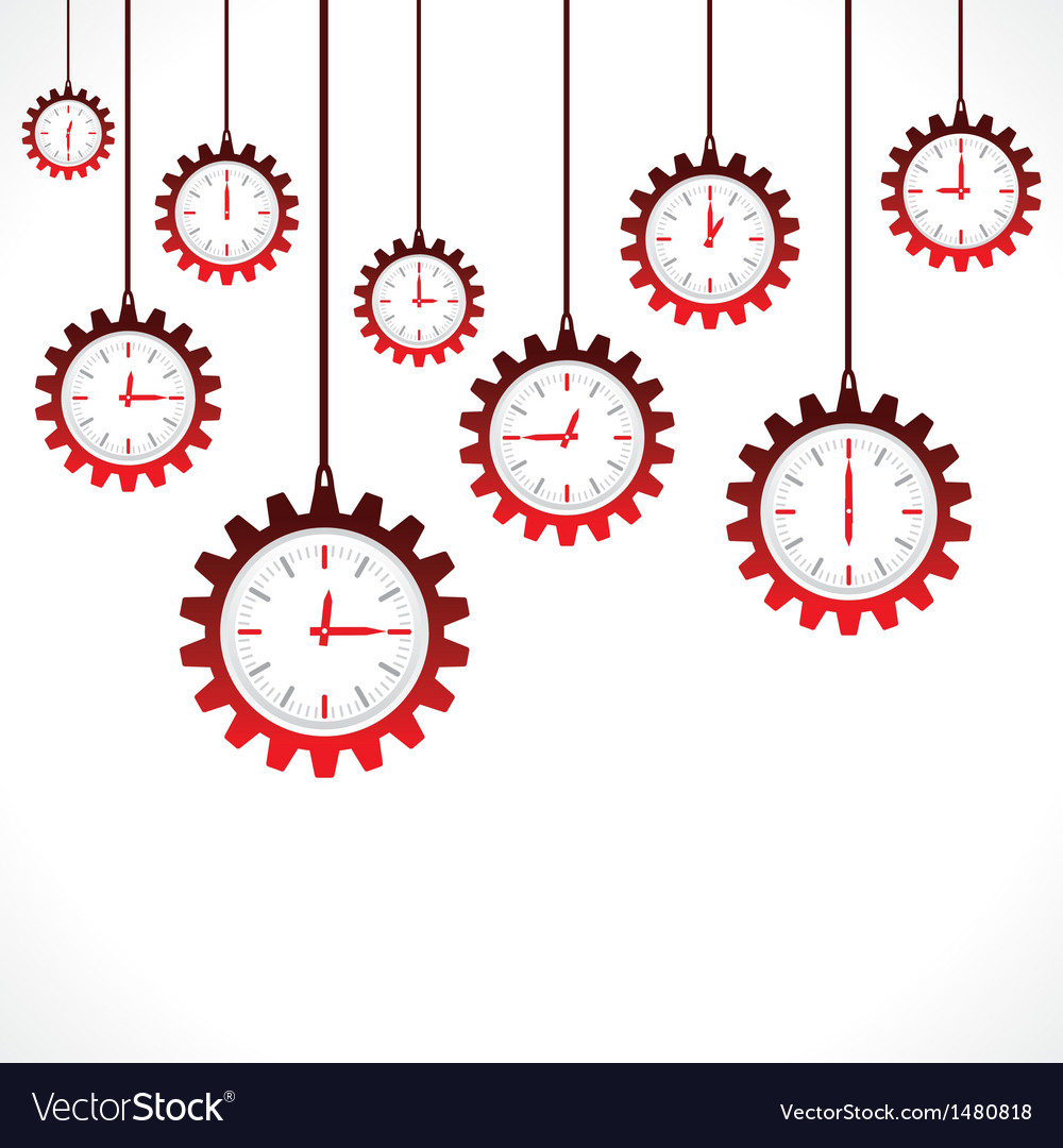 Hanging gear shape red clocks vector