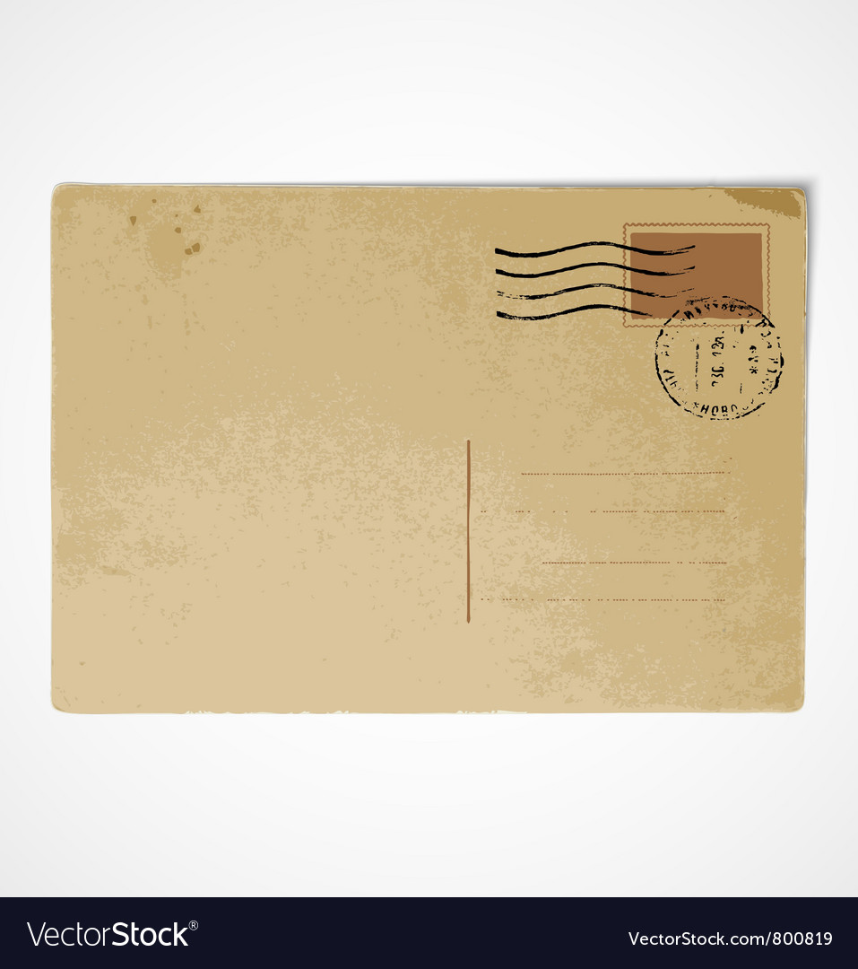 Old vintage postcard back vector