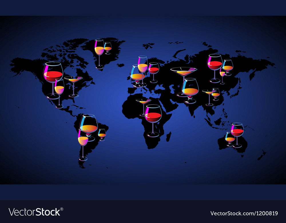 World map with wines vector