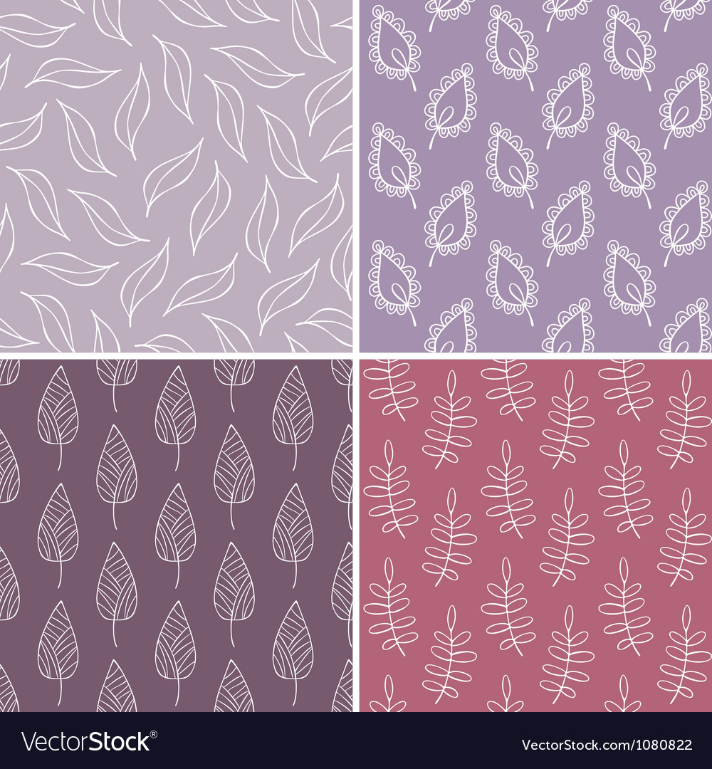 Set of leaves seamless patterns vector