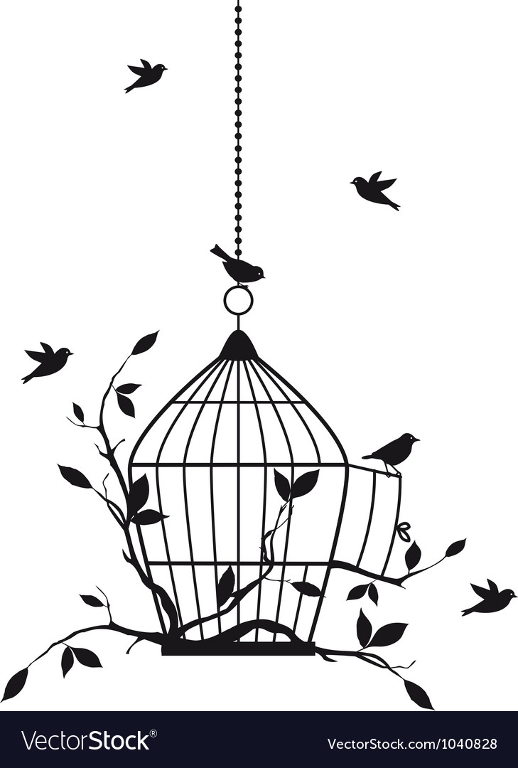 Birds with birdcage vector