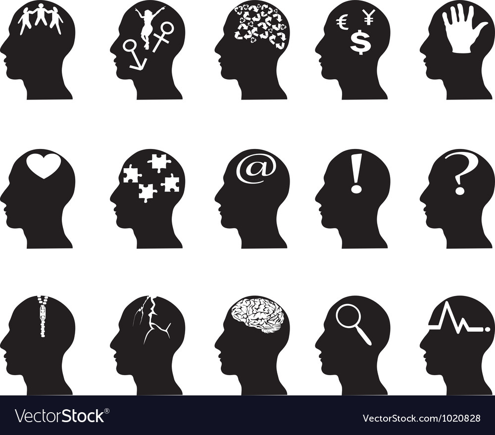 Black profiles with idea symbols vector