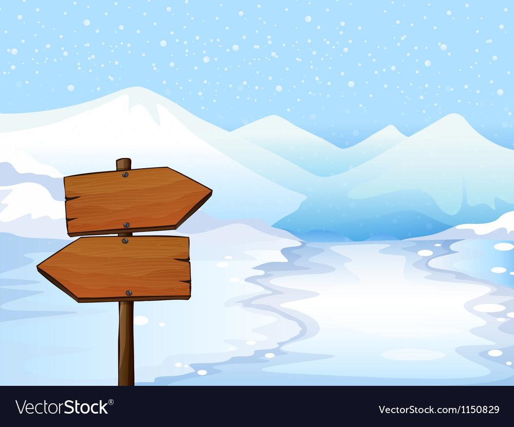 A wooden signboard vector