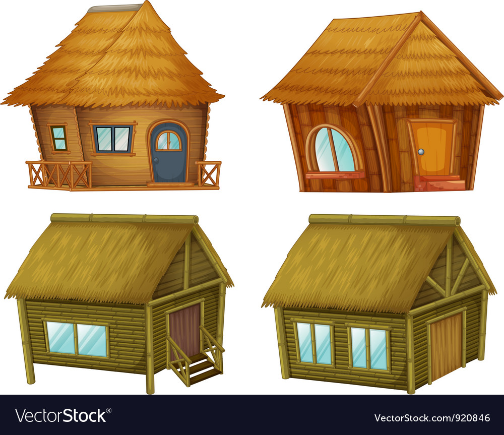 Set of cabins vector